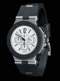 Bvlgari Stainless Steel Diagono Chronograph. Automatic Watch with a Stainless Steel and Rubber Case on Stainless Steel and Rubber Strap.