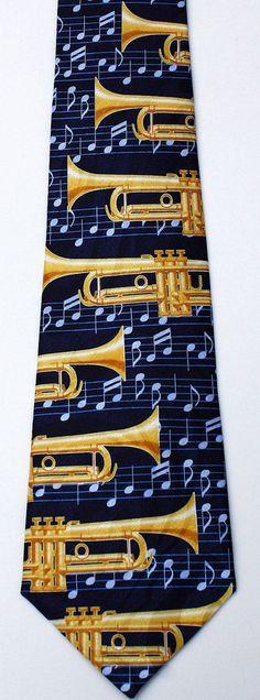 511d7cc390bb New Trumpet Band Mens Necktie Brass Musical Instrument Trumpets Music Neck  Tie #StevenHarris #NeckTie