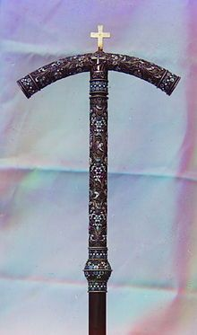 Eastern Orthodox tau-shaped crosier belonging to St. Dimitry of Rostov (Rostov museum). for comparison