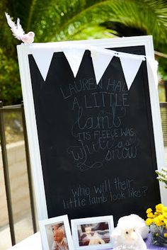 """Maybe not the lamb part. But I love the. Baby shower sign w/ baby pics of the parents. """"All because 2 people fell in love."""""""