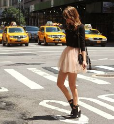 booties and a tulle skirt