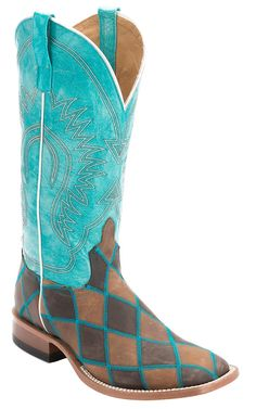 Anderson Bean® Mens Distressed Brown & Chocolate Patchwork Square Toe Cowboy Boot