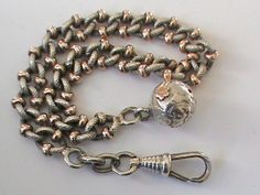 Antique French Silver 800-900 Bracelet with Gold Vermeil & Ball Charm