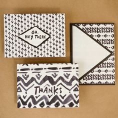 Geo Brushed Trio of Notes, Boxed Set of 6