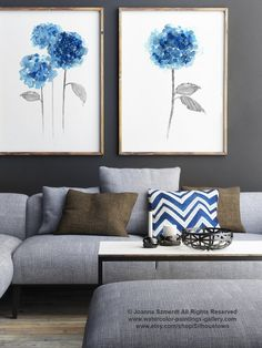 Blue Hydrangea Rustic Wedding Flowers Set of 2 Home Decor. Hydrangeas Giclee Fine Art Print. Abstract Flower Painting. Housewarming Gift Modern
