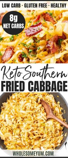 Keto Southern Fried Cabbage Recipe With Bacon - See how to make fried cabbage with just 5 ingredients! This keto Southern fried cabbage recipe with bacon is super flavorful and a total crowd pleaser. Keto Southern Fried Cabbage Recipe With Bacon - # Yummy Recipes, Appetizer Recipes, Real Food Recipes, Diet Recipes, Vegetarian Recipes, Cooking Recipes, Healthy Recipes, Keto Recipes With Bacon, Turkey Bacon Recipes