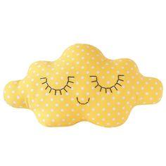 Prix / price : 43 € Coussin décoratif. Brodé à la main. Confectionné en France par la créatrice en petite série. Tissu coton - jaune poussin à pois...
