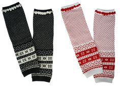 Pack of 2 Infant Toddler Winter Knit Snowflake Leg Warmers