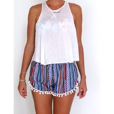High Waisted Pom Pom Shorts Aztec Pattern With Large White Pom Pom... ($24) ❤ liked on Polyvore featuring grey and women's clothing