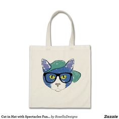 Cat in Hat with Spectacles Fun Accessory Tote Bag