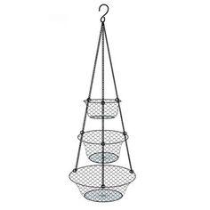 Tai Ying 3 Tier Wire Hanging Fruit Or Vegetable Kitchen Storage Basket,Black