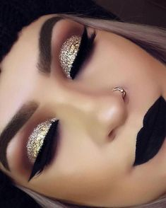 Gold glitter eye makeup with black lips (winter wedding makeup gold) - Prom Makeup For Brown Eyes Winter Wedding Makeup, Dramatic Wedding Makeup, Dramatic Eye Makeup, Natural Wedding Makeup, Makeup For Brown Eyes, Smokey Eye Makeup, Bridal Makeup, Makeup Eyeshadow, Orange Eyeshadow