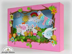 Hello Doodlebug fans. Jennifer here and today I have a fun shadowbox project to share. This project features Doodlebug's new Swiss Dot Pet...
