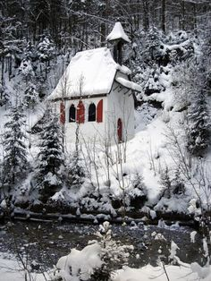I would love to build a little chapel just about this big in some quiet hidden place in the world.  winter cottage snow