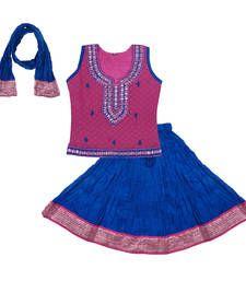 Buy Pink and Blue Cotton lehnaga choli with blouse kids-lehenga-choli online