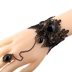 Gothic Jewelry Black Cameo Lace Flower Bracelet Chain Ring Lolita Gift #Yazilind #Fashion