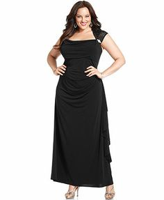 This would work well as a re-wearable dress, but black is a bit dark for a spring wedding... R&M Richards Plus Size Cap-Sleeve Lace Cutout Gown