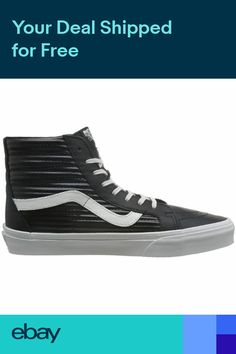 b92c677e73a976 Vans SK8-Hi Reissue Black White Mens Leather High Top Trainers