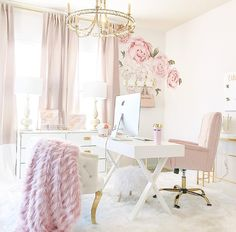 Blush and Gold Office