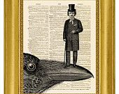 Skull and Raven - ORIGINAL ARTWORK - Dictionary Art Print Vintage Antique Upcycled Book Page no.54. $10.00, via Etsy.