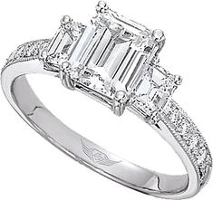 Flyerfit Three Stone Emerald Cut Engagement Ring With Pave Accents This Stylish