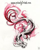 chinese Watercolor Dragon Tattoo Design by Milui