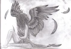 Yeah this is a pick of a fallen angel i made for my friend angela. she wants fallen angel wings on her back as a tattoo so i thought id draw her as one. Fallen Angel Wings, Fallen Angel Tattoo, Fallen Angels, Sad Drawings, Art Drawings Sketches, Pencil Drawings, Angel Wings Drawing, Falling Angel Drawing, Angel Sketch