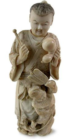 japanese okimono | 19th Century Japanese Carved Ivory Father and Son Okimono