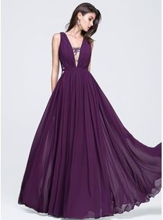 A-Line/Princess V-neck Floor-Length Ruffle Lace Zipper Up Regular Straps Sleeveless No Grape Spring Summer Fall General Plus Chiffon Prom Dress
