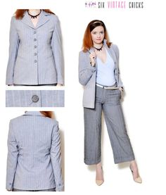 Grey Blazer women button down jacket stripe pattern 90s clothing vintage blazer womens clothing suit jacket office clothes wool blazer S by SixVintageChicks on Etsy