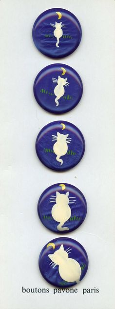 Painted by Hand Set of Cat Silhouettes on Five by baublesbuttons, $150.00