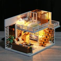 Modern 2 Story DIY Dollhouse - Miniature House Furnished with Lights - Wooden Dollhouse Adult Toy - Dollhouse Furniture Kit - Diy Project - Home Decor Ideas Miniature Dollhouse Furniture, Wooden Dollhouse, Diy Dollhouse, Miniature Dolls, Dollhouse Miniatures, Tiny House Design, Wooden House Design, Wooden Houses, House Layouts