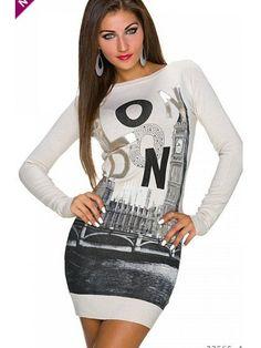 Rochie tricotata mulata casual cu imprimeu cauciucat Deea