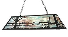 48 Inch L Quiet Pond Oblong Pendant. 48 Inch L Quiet Pond Oblong PendantBare trees surround a quiet pond on this natureinspired oblong pendant. The fixture is finished in Black, has panels of Smoked Blue stained art glass and is handcrafted in the USA by Meyda artisans. Theme:  RUSTIC LODGE ART GLASS COUNTRY Product Family:  Quiet Pond Product Type:  CEILING FIXTURE Product Application:  BILLIARD/ISLAND Color:  BLACK Bulb Type: MED Bulb Quantity:  9 Bulb Wattage:  100 Product...