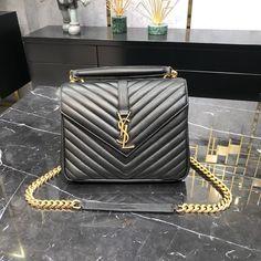 Ysl Saint Laurent college medium chain shoulder bag black gold Saint Laurent Bag, Chain Shoulder Bag, Ysl, Chanel Boy Bag, Black Gold, Saints, College, Medium, Bags