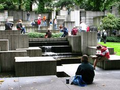 Freeway Park.  A bit controversial because it spans directly over Interstate 5, making for a brief confusion when you drive underneath it.  Nice park in the middle of downtown though.