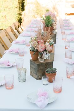 Pretty in pink table: http://www.stylemepretty.com/living/2015/09/10/girly-california-baby-shower/ | Photography: One Eleven - http://oneelevenphotography.com/