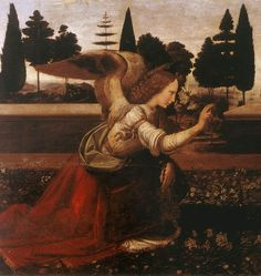 "Leonardo, da Vinci - Annunciation (detail) - Renaissance (High Italian, ""Cinquecento"") - New Testament - Oil on wood"