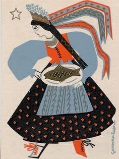 Vintage Polish Christmas Card ~ Orange Accents (Don't think she's a fish fan! Vintage Christmas Cards, Vintage Holiday, Retro Christmas, Xmas, Art And Illustration, Polish Christmas, Polish Folk Art, Vintage Postcards, Illustrators