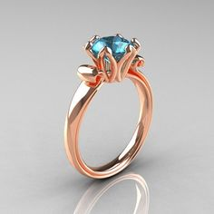 This ring but with a Ruby! ~ Modern Antique 14K Rose Gold 1.5 Carat Aquamarine Solitaire Engagement Ring AR127-14RGAQ | ArtMastersJewelry - Jewelry o