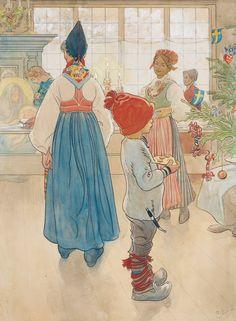 Carl Larsson -  Nu är det jul igen / Julafton (Christmas Eve) 1907 https://www.bukowskis.com/en/auctions/580/633-carl-larsson-nu-ar-det-jul-igen-julafton