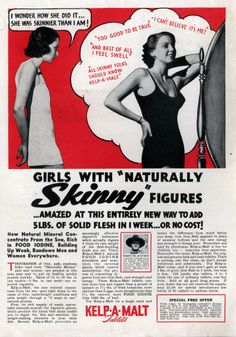 """5lbs of solid flesh in 1 week"" -My how things have changed since 1934"