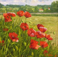 Poppies near Warsaw, Dmitry Levin Painting & Drawing, Watercolor Paintings, Poppy Drawing, Guache, Red Poppies, Beautiful Paintings, Painting Inspiration, Flower Art, Landscape Paintings