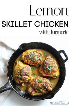 Lemon Turmeric Skillet Chicken (great Anti-Inflammatory dinner recipe!) #recipes #Dinnerideas #kidsfriendlyrecipe #Anti-inflammatory #Cleaneating #Wholefoods #Chickendinner via @BeckyMans