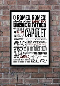 ROMEO and JULIET Poster Shakespeare Balcony Scene by Redpostbox, £12.00