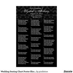 Wedding Seating Chart Poster Black Floral