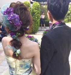 . . オランジュベールにて♡ . お色直しは、 . イエローにパープルを♡ . chisizuさんとminoruさんのコーディネートは、 . 一緒にしっかり決めて、 . ブーケも一緒に花屋さんに行って選んだから、 . カラーのバランスが良かったのです♡ . . 沢山の人に可愛いと言って頂けて、 . しっかり頑張って準備してよかったですね、chisuzuさん☺️ . 指名してくれて、本当にありがとうございました! . . #結婚式#美容師#髪型#ブライダル#ヘアアレンジ#ヘアアクセ#ヘアセット#プレ花嫁#セット#結婚#ドレス#花嫁#編み込み#ルーズ#卒花嫁#セウ花嫁#美容室#ヘアメイク#ウェディング#ヘアスタイル#アレンジ#写真#love#hairstyle#hairstyles#bridal#weddinghair#bridalhair#hairarrange