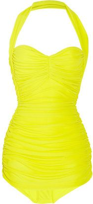ShopStyle: Norma Kamali Bill ruched halterneck swimsuit- pretty