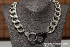 Silver Gold Chunky Handcuff Choker Necklace Metal Curb Chain Hematite Gunmetal HandCuffs Cuff Pendant - pinned by pin4etsy.com