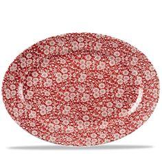 Churchill Super Vitrified Vintage Prints   Cranberry Victorian Calico Oval Dish